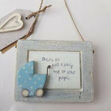 East of India Shabby Wooden Plaque newborn baby boy present gift keepsake