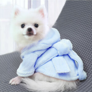 Dog Pajamas Bathrobe Thickened Nightgown Puppy Pet Hoodie French Bulldog Clothes
