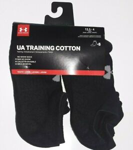 Under Armour Youth UA Charged Cotton 2.0 Training No Show Sock 6 Pair New $18.00