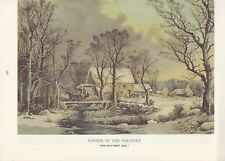 """1974 Vintage Currier & Ives COUNTRY LIFE """"GRIST MILL IN WINTER"""" COLOR Lithograph"""