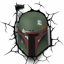 STAR WARS BOBA FETT MASQUE 3D DÉCO LED LAMPE MURALE VEILLEUSE FX DISNEY