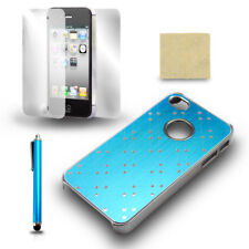 For iPhone 4 4S Blue Chrome Protective Case Cover + Screen Film + Stylus Pen