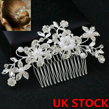 UK Seller NEW Beautiful Pair of Satin /& Diamante Flower Hair Clips