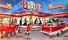 Vintage Style Christmas Card UNUSED MCM Girl Carhop People @ Santa's Soda Shop