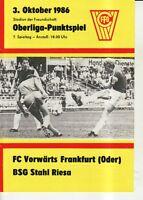 OL 86/87  FC Vorwärts Frankfurt/O. - BSG Stahl Riesa