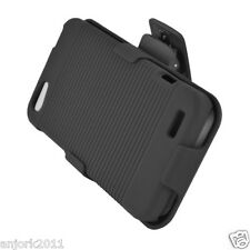 HTC ONE V HARD CASE COVER + HOLSTER COMBO w/ SWIVEL BELT CLIP ACCESSORY BLACK