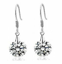 Simple Elegant Round Stone Shiny Cubic Zirconia Dangle Drop Hook Earrings E322
