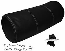 """EXCLUSIVE LUXURY GENUINE BLACK LEATHER ROUND CUSHION BOLSTER ROLL 9"""" x 24"""""""