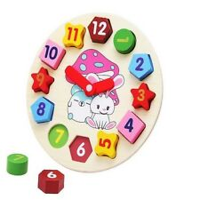 Early Educational Toys Kids Wooden Digital Clock Jigsaw Colours Numbers Shapes