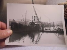 Ancienne Photo de Presse Chargement d'un Bateau Cargo SNC à Cherbourg 1933