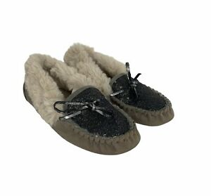 Far Away From Close ANTHROPOLOGIE Sequin Moccasin Slippers Women's Size 10