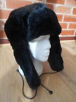 MENS LADIES DELUXE BLACK FAUX FUR RUSSIAN TRAPPER HAT WARM WINTER SKI NEW 58-60