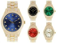 Men Fully Iced Watch Bling Rapper Simulate Lab Diamond Metal Gold Luxury Cubic