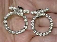 Vintage Clear Rhinestone Shoe Clips -Prong Set - Circles - 1 1/4 inch  SALE