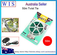 50m Green Plastic Twist Tie Wire Spool with Cutter for Garden Yard Plant