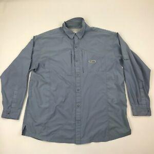 Columbia PFG Omni-Shield Men Blue Button Lightweight Long Sleeve Shirt sz 2XL