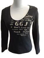 Guga Jeans Damen Shirt Stretch Gr.M/L Anthrazit Schriftdruck