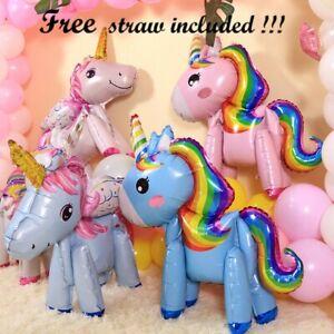 3D Unicorn Standing Full Body Foil Birthday Party Girl Decoration Balloon