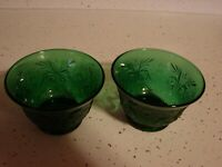 TWO  FIRE KING DEPRESSION GLASS FOREST GREEN  TWO DESERT BOWLS