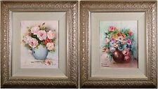 Two Original Floral Still Life Oil Paintings, Framed & Signed, Beautiful & Fine!