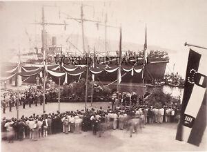 STAMPA FOTO ALINARI - VARO ALL'ARSENALE DEL Lloyd Austriaco a TRIESTE 1880 ca.