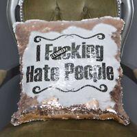 I F*cking Hate People Sequin Magic Reveal Mermaid Cushion Swearing | Christmas