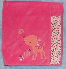 Mother Care Little Deer Baby Blanket Pink Velour Flower Floral Print Infant Girl