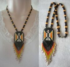 Vintage Native American Seed Bead Thunderbird Beadwork Necklace Hook Closure