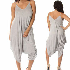 New Womens Italian Lagenlook Strappy Baggy Romper Jumpsuit Dress Plus Size 08-18