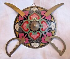 VINTAGE INDIA BRASS ENAMEL SHIELD WITH SWORDS WALL HANGING DECOR COLLECTIBLE