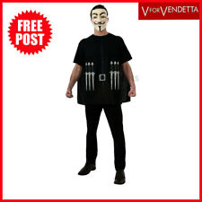 V for Vendetta Costume Shirt Printed Daggers Black Cape Mask Halloween Std Adult