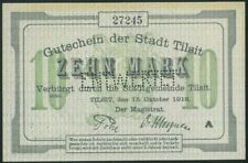 TILZE 10 Mark (15.10.1918) Tilsit Lithuania Germany aUNC/UNC