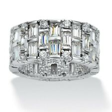 real 925 Sterling Silver Ring cz size 3-12 statement cocktail baguette shiny new