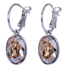 Swarovski Elements Crystal Golden Oval Puzzle Pierced Earrings Rhodium 7176w