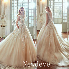 Wedding Dresses Lace Bridal Ball Gowns Beads Appliques Custom Sweep Train Tulle