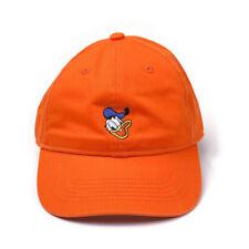 DISNEY Donald Duck Embroidered Face Stone Washed Denim Dad Cap Orange