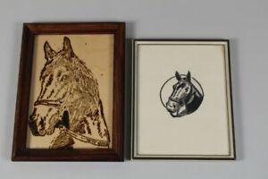 A4/ 2x kleine Pferde Bilder - Brandmalerei + gemalt - gerahmt bis ca. 20x15 /350
