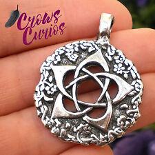 Green Witch Pentacle Amulet Pendant Black Necklace Cord Nature Pentagram