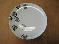 """Crate & Barrel Poland BLACK FLOWERS ON WHITE Dinner Plate 10 3/4""""  2 available"""