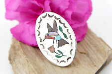 Vtg Sterling Silver Signed Zuni Turquoise Inlaid Hummingbird Pendant Pin