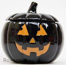 Martha Stewart Halloween Jack-O-Lantern Black Pumpkin Orange Accents Cookie Jar