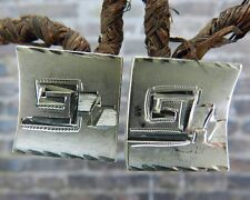 Textured /Etched Screw Back Earrings Vintage Mexico Sterling Silver Retro Square