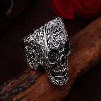 Punk Rock Men's Stainless Steel Rings Biker Finger Band Ring Cool Gothic Jewelry