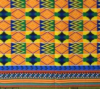 695e334044e African KENTE Print Hitarget 100% Cotton Primary Colors Sewing By The Yard