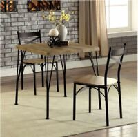 Farmhouse Dining Table Set Small Rustic 3 Piece Wood Metal Kitchen Furniture New