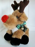 "Reindeer Vintage 1980s Christmas Plush Stuffed Animal Size 15"" Red Nosed"