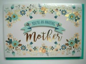 """""""YOU'RE AN AMAZING MOTHER"""" 3D MOTHER'S DAY GREETING CARD + TEAL ENVELOPE"""