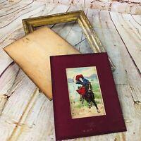 Antique 1909 framed post card lady on Horse wood gold frame vtg matted w glass
