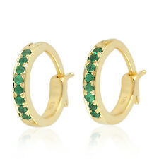18k Yellow Gold Huggie Studded Tsavorite Hoop Earrings ]Jewelry For Women Gift