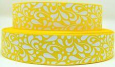 "Grosgrain Ribbon 7/8"" &1.5"" Daffodil & White Floral Swirls Pattern Printed."